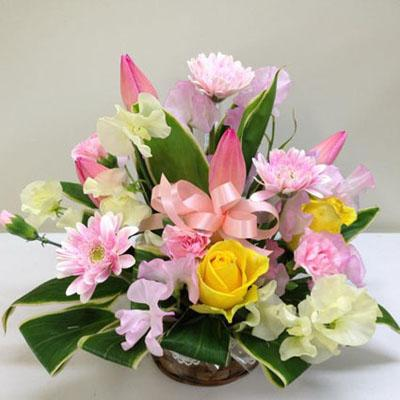 ピンクのガーベラが可愛いアレンジメント【花の南福花園オリジナル】