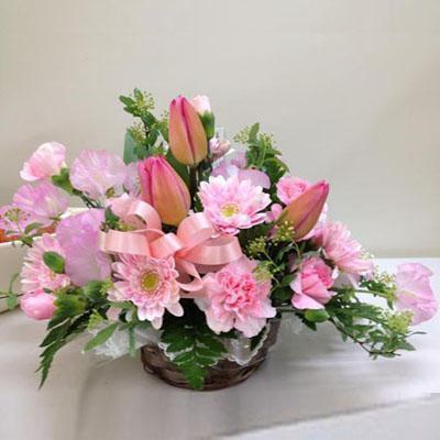 ピンクチューリップのアレンジメント【花の南福花園オリジナル】