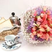 2色のスイトピーがガーリーな花束 送料無料!2