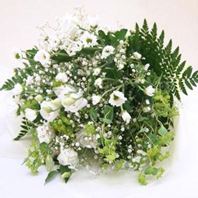 白上がりでまとめた花束 送料無料!