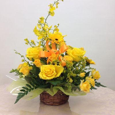黄色の豪華フラワーアレンジメント 送料無料!