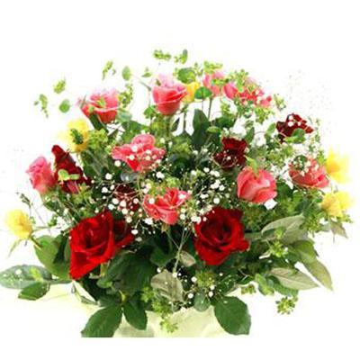 3色のバラとかすみ草でとっても華やか花束 送料無料!2