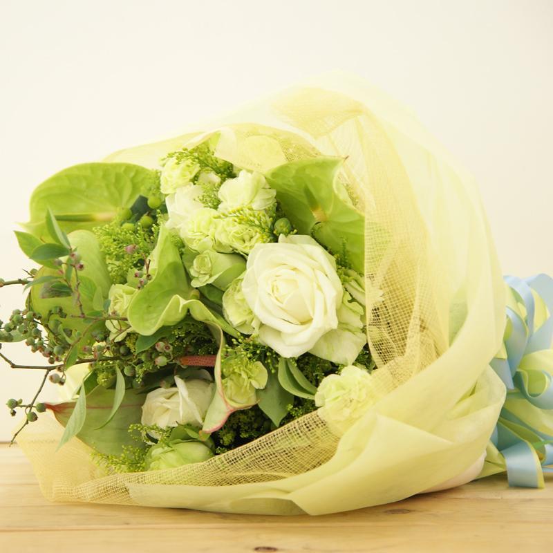 緑がノスタルジックな花束 送料無料!