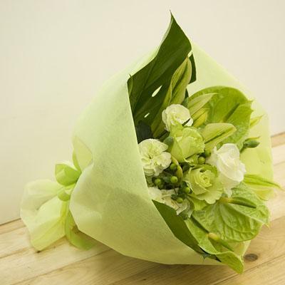 緑系でまとまったスタイリッシュな花束 送料無料!